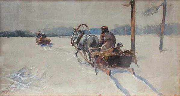Julian Fałat - Hiver, aquarelle sur carton
