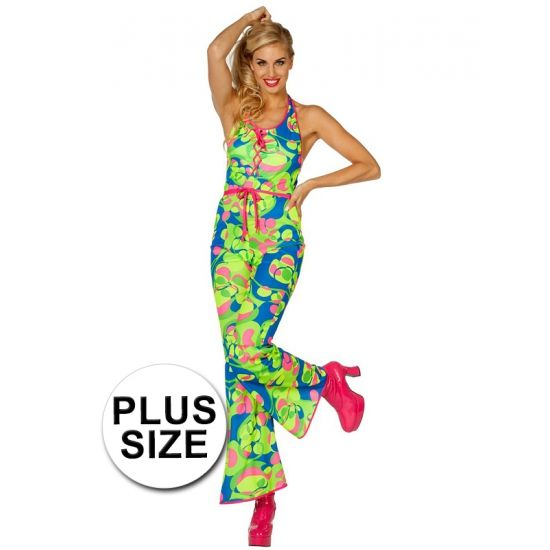 Grote maten sixties/seventies catsuit kostuum met gekleurde neon print en een roze bandje als riem. Materiaal dames catsuits: 100% polyester. Te gebruiken op een sixties en seventies feest of gewoon als een te gek pak.
