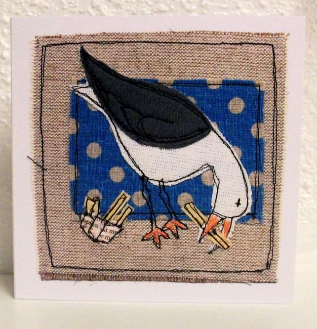 Thieving seagull is a print of one of  Loopy Linnet's seagull textile designs. I love the original textile works like this beach hut design http://folksy.com/items/3151154-Beach-hut-framed-textile-art- but also love these cute seagulls. I'd have a few of these on my walls. :)