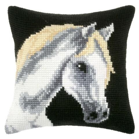 Orchidea Grey Horse Pillow Cover Needlepoint Kit