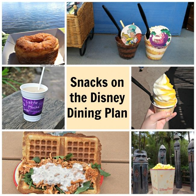 Examples of availabled Snacks on the Disney Dining Plan - Printable Park Guides