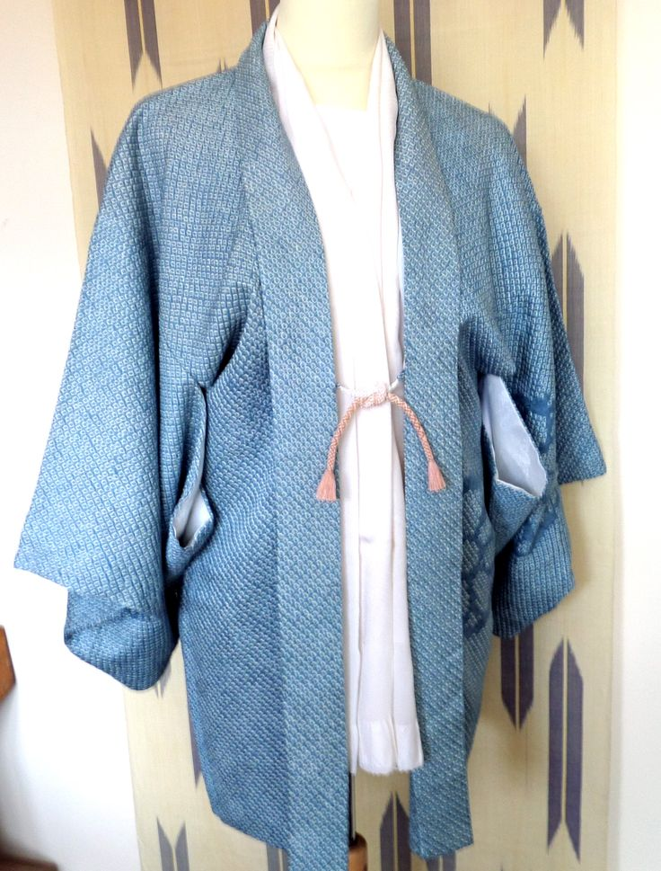 H168 Japanese pure silk vintage haori jacket; delicate Teal Blue/white Shibori ;hand made; soft; chic and fashionable! Small/Med by LizzieHuxtable on Etsy