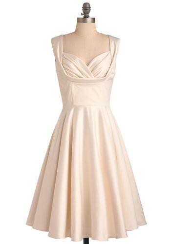 Cream Satin Dress