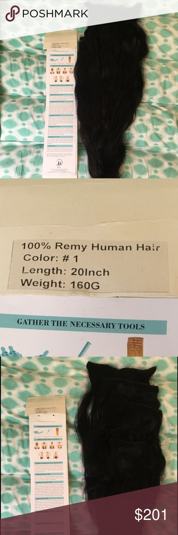 "100% Remy Human Hair Extensions Worn a couple times Great condition  1B Was $269 From Planet Beauty AUTHENTIC HUMAN HAIR 20"" 160 G bellami Accessories Hair Accessories"