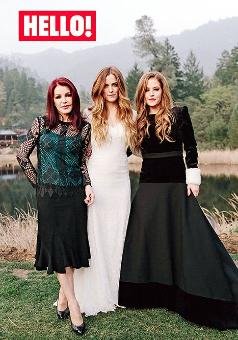 Riley Keough posed with her mom Lisa Marie Presley and grandmother Priscilla Presley at her wedding in Feb. 2015.