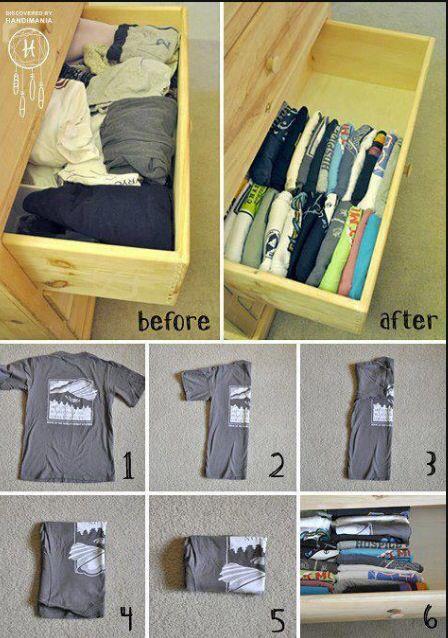 Organização camiseta gaveta