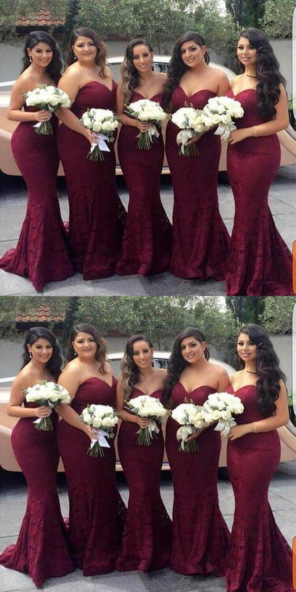 581b2073d5 Mermaid Sweet Heart Dark Red Lace Cheap Long Wedding Party Bridesmaid  Dresses