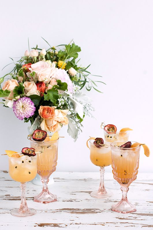 Passion fruit cocktail featured on SFgirlbyBay.com. Beautiful and sweet drink recipe for hot summer days.