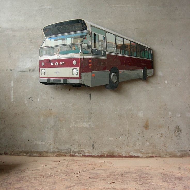 Ron van der Ende - Stadsbus (Town Bus), 2007. Bas relief in salvaged wood, 183 x 112 x 14cm (collection Historisch Museum Rotterdam, on permanent display)