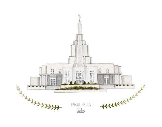Idaho Falls Idaho LDS Temple Illustration - 8x10 or 11x14 Archival Art Print