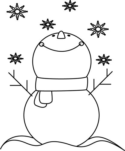 Black and White Snowman Catching Snowflakes Clip Art ...