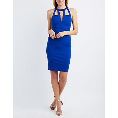Blue Caged-Front Bodycon Dress - Size XS