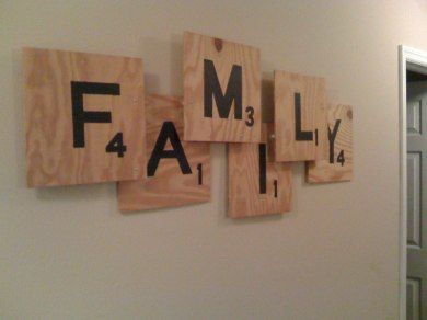 DIY wall decor; made to look like giant Scrabble tiles (obvs to spell out whatever you like - thinking the new last name someday!)