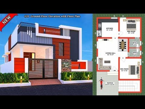 20 Small House Elevation With Floor Plan Ground Floor Elevation Single Floor Elevation Single Floor House Design House Elevation Small House Elevation Small house plan and elevation