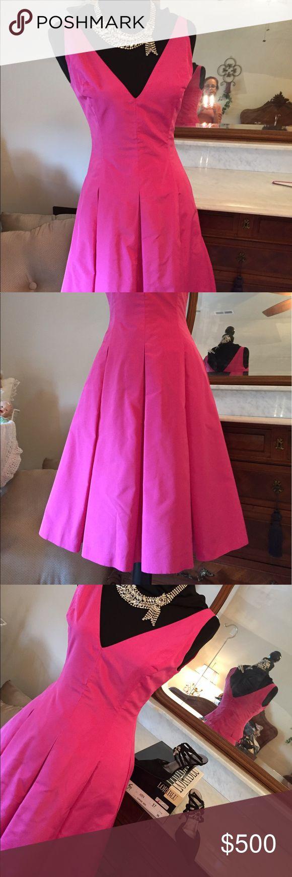 Guc ralph lauren black label fitted fuchsia dress