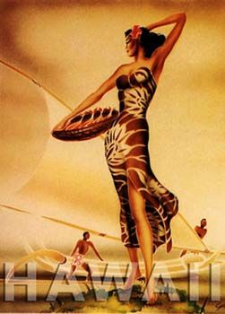 Gill: 1940's Wahine Hawaiian Poster.  I have the statue of this girl in the same pose.