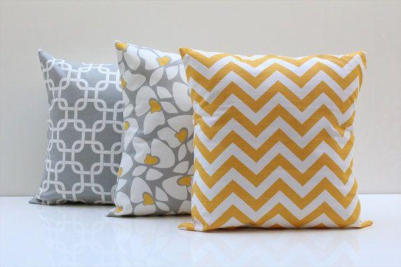 16 Almohada cubre amarillo gris COMBO Zig Zag por PillowsbyWillow