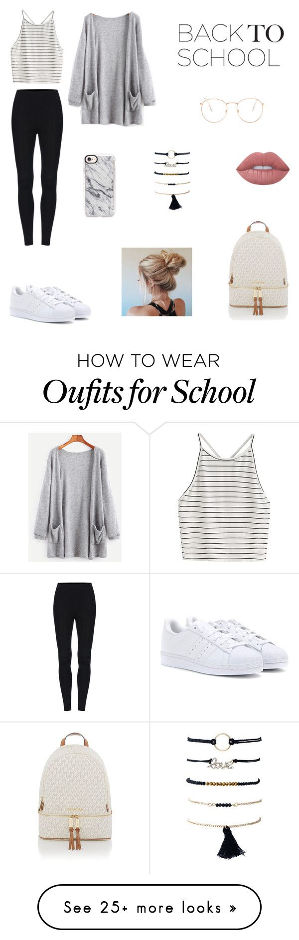 """""""School Style!"""" by olympia-valance on Polyvore featuring Glance Eyewear, Michael Kors, Casetify, Lime Crime and adidas"""