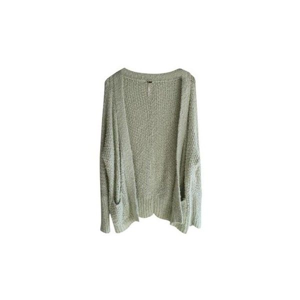 Free People Medium Sweater Pockets Green Mint Cardigan ($48) ❤ liked on Polyvore featuring tops, cardigans, green top, mint green cardigan, pocket tops, mint cardigan and mint top
