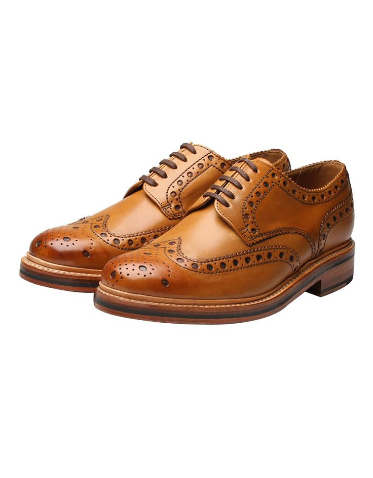 Grenson Tan Archie Calf Brogue Shoe | Accent Clothing
