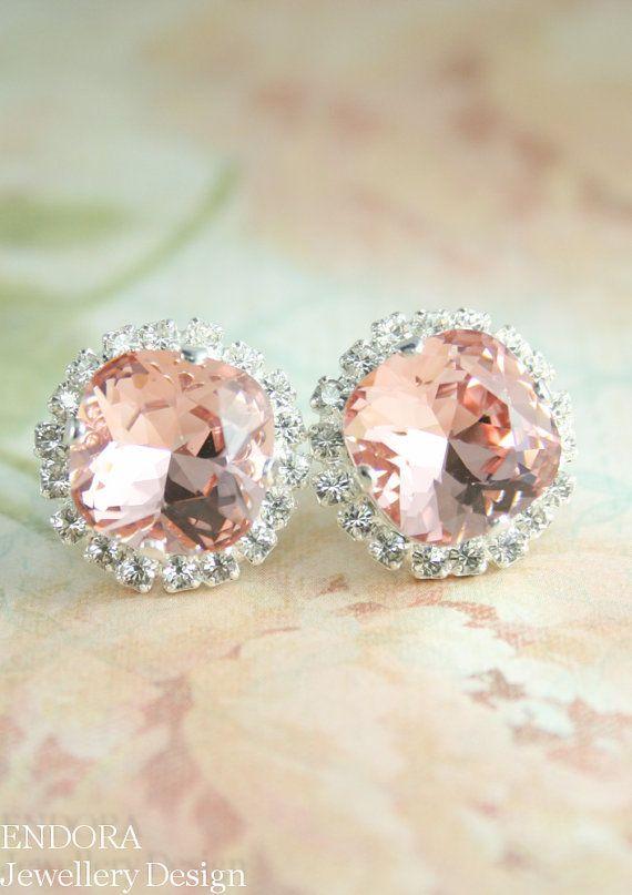 Blush pink crystal earrings | blush pink wedding | blush bridal jewelry | www.endorajewellery.etsy.com