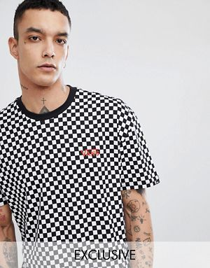 ca8a138c94 Vans Oversized Checkerboard T-Shirt In Black Exclusive To ASOS ...