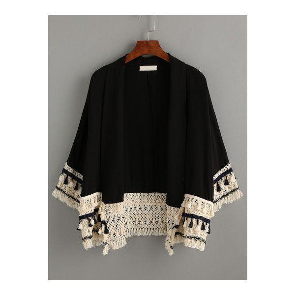 SheIn(sheinside) Black Tassel Trimmed Kimono (€21) ❤ liked on Polyvore featuring intimates, robes, black, beach kimono, beach robe, summer robe, cotton kimono and kimono robe