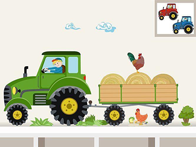 Perfect Wandtattoo Traktor Anh nger Midi Bauernhof personalisierbarer Wandsticker f r Kinderzimmer und Babyzimmer