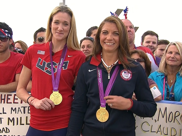 Misty May-Treanor and Kerri Walsh Jennings pose with their gold medals. The pair have attended the last 3 summer olympics and won gold in every olympics!  Congratulations girls   :)