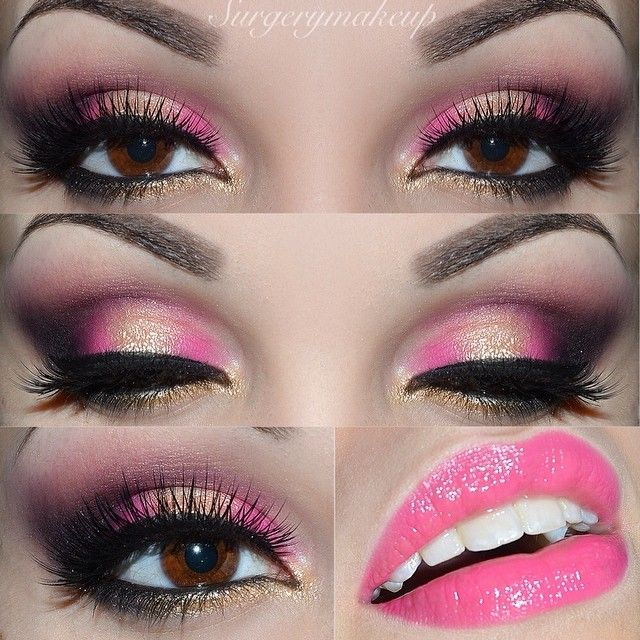 Pink and black dress makeup pictures