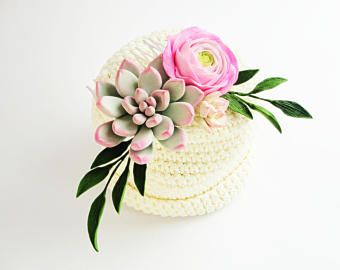 Pink Gray Green Wedding Bridal Hair Comb Wedding Rose Peony Ranunculus Succulent Hair Accessory Bridal Party Bridesmaid Gift Floral Comb