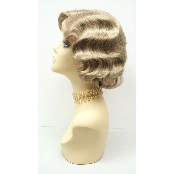 1920'S Style Short Dirty Blonde Finger Wave Wig Vintage Style Costume... ($40) ❤ liked on Polyvore featuring costumes, bath & beauty, black, hair care, wigs, roaring 20s halloween costumes, 1920s halloween costumes, vintage inspired halloween costumes, roaring 20s costumes and roaring twenties costumes
