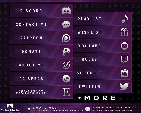 Purple Cosmos - Profile Panel Package | Twitch and YouTube