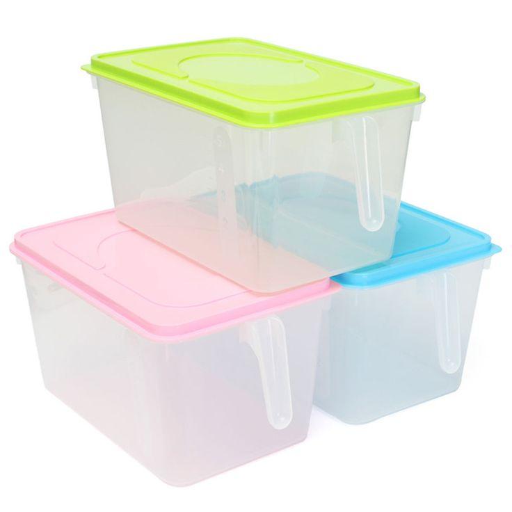 Зеленый синий розовый пп прозрачный кухня холодильник шкаф для хранения продуктов питания с ручкой 27 x 18 x 15 см