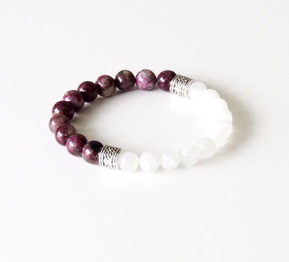 I like this Tourmaline Bracelet - Moonstone Bracelet - Yoga Bracelet - Wrist Mala - Boho Bra...