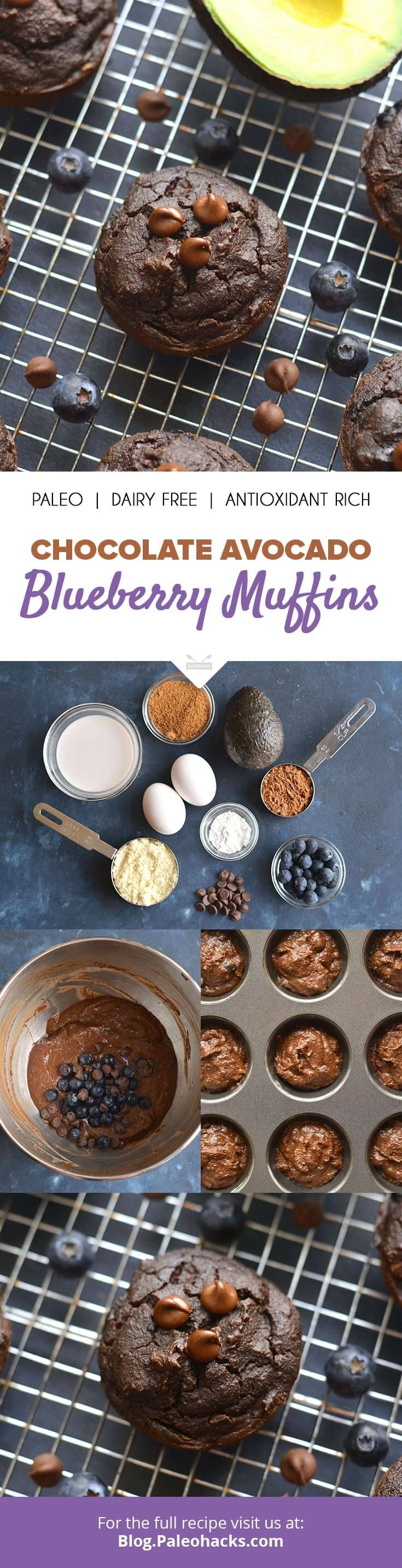 These creamy Paleo blueberry muffins are packed with avocado, blueberries and dark chocolate – an antioxidant dream! Get the recipe here: http://paleo.co/chocavomuffins