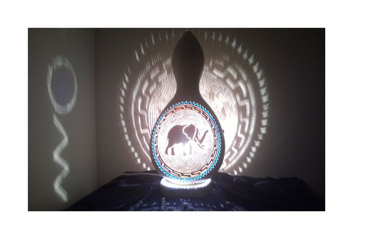 Large Handmade Gourd Lamp Shade The Ancient Elephant also Suitable for Nurseries and Childrens Room. Welcome. My objective is to send you a unique, truely handmade, authentic product from the Mediterranean with a reasonable cost. So please read the next three pharagraphs carefully before making a decision. I work with selected farmers who water calabash excessively (the main material) and feed them with goat based fertilisers so that they grow up strong and thick. But when it comes to...