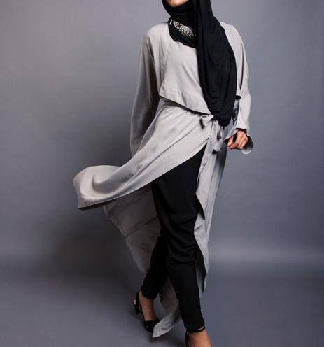 Grey Maxi Kimono + Black Jersey Hijab | INAYAH  www.inayahcollection.com