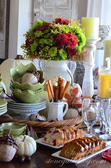 THANKSGIVING - serve yourself CONTINENTAL BREAKFAST VIGNETTE - easy breakfast buffet for when your house is full of guests -from StoneGable