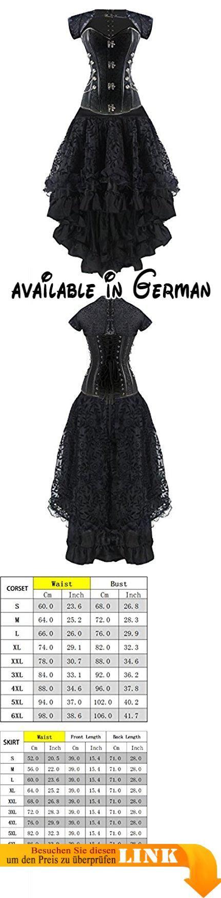 Burvogue Damen Steampunk Gothic Corsage Kleid Lang Rock Corsagenkleid (S, P-20024). Import. Handwäsche. Größe fällt klein aus.Um 2-3Größen bis. Steampunk-Kostüm inkl. Rock und Korsett Top. Hohe Qualität, perfekt zu ergänzen eine Burlesque-, Spanisch, Steampunk oder Gothic Kostüm. #Apparel #UNDERWEAR