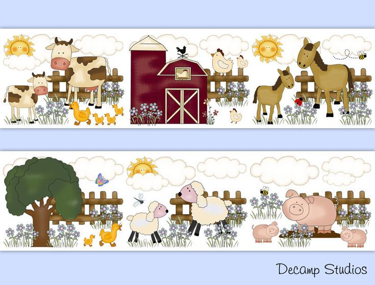 FARM ANIMALS NURSERY Baby Girl Boy Wallpaper Border Wall