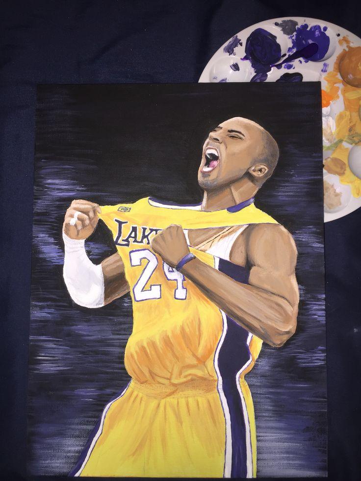 Kobe bryant acrylic painting cute drawings canvas