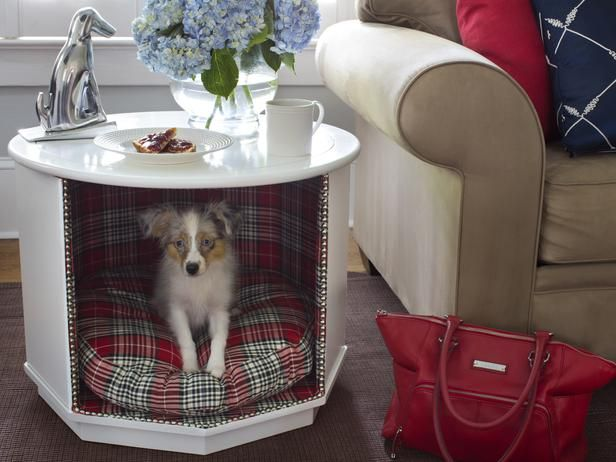 How to Make a Combination Pet Bed and End Table :  Use an old octagonal table, remove the doors, upholster the inside and add a cushion.  Happy Pets!