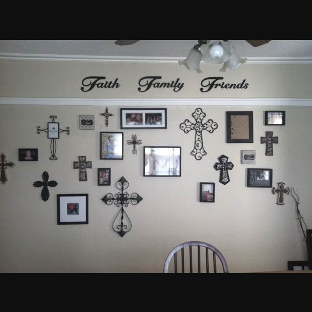 faith, love, and family will be in my living room: Crosses Pictures, Living Rooms, Crosses Wall Ideas, Wall Crosses, Decor Crosses Wall, Crosses Work, Wall Of Crosses Decor, Home Decor Crosses Ideas, Decor W Crosses & Pictures