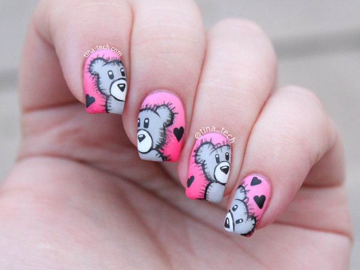 teddybear nail art