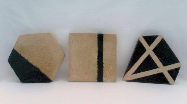 concrete coasters, hexagon, square, diamond