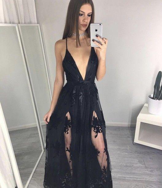 Prom Dresses,Evening Dress,Party Dresses,Spaghettis-Straps Side-Slits A-line Black