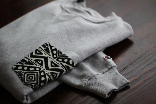 Buy a Hanes sweatshirt create a pocket in a pattern. gettin-crafty: Sweaters, Skinny Jeans, Hane Sweatshirts, Elbow Patches, Cute Ideas, Pockets, Fabrics, T Shirts, Diy