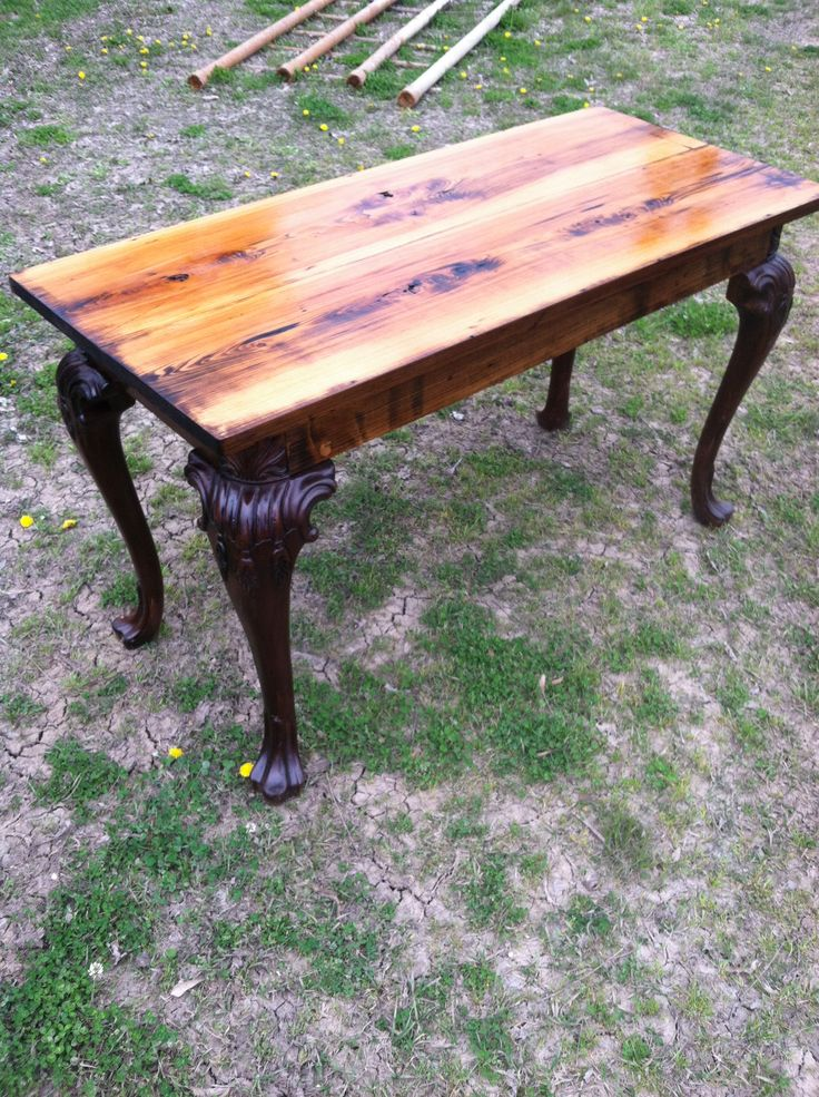 Foyer Table Made From Cypress With Carved Legs, This Piece Has Phenomenal  Grain And Color