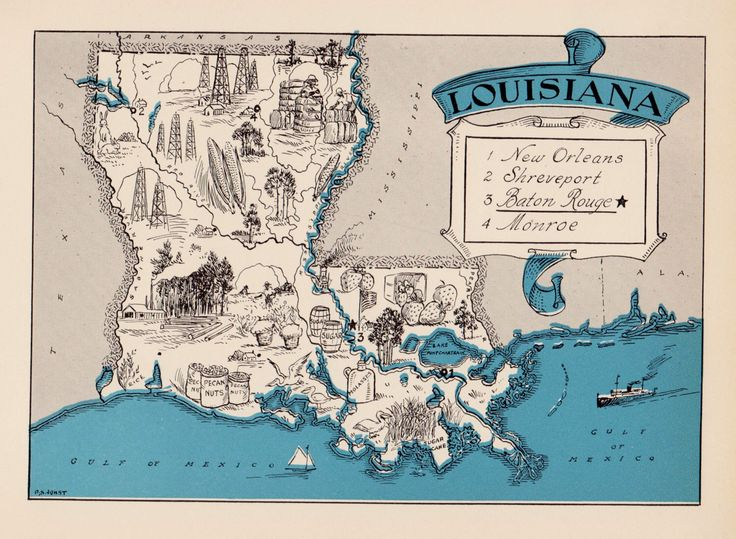 30's Whimsical LOUISIANA Map of Louisiana State Map Print Travel Map Gallery Wall Art Library Office Decor  Birthday Gift by OnTheWallPrints on Etsy https://www.etsy.com/listing/255283977/30s-whimsical-louisiana-map-of-louisiana
